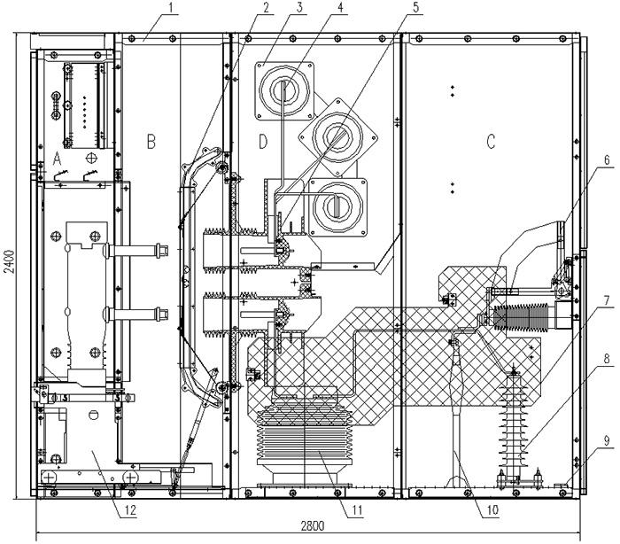 开关柜结构图(配vd4-40.5断路器)