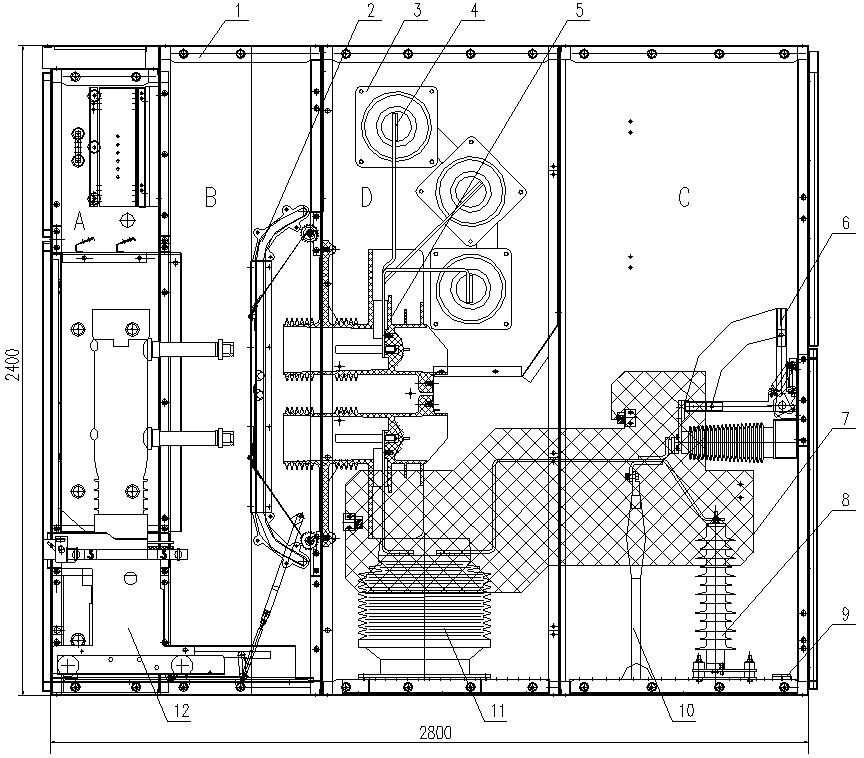 5开关柜结构图(配vd4-40.5断路器安徽得润电气(www.ahdr.