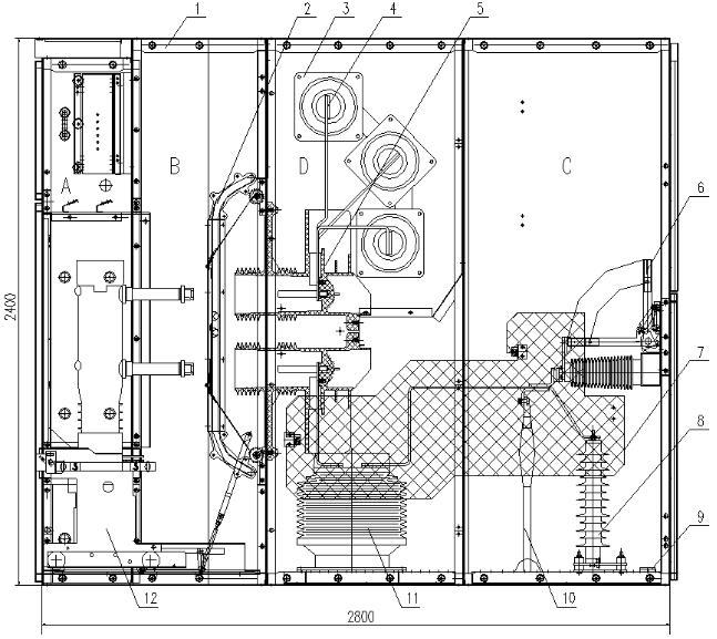 A、继电器室 B、断路器手车室 C、电缆室 D、母线室   1、外壳 2、活门机构 3、穿墙套管 4、主母线 5、触头盒   6、接地开关 7、电缆室绝缘板 8、避雷器 9、接地主母线 10、一次电缆   11、电流互感器 12、断路器   图2 开关柜结构图(配VD4-40.5断路器)   6. 开关设备安装   1.