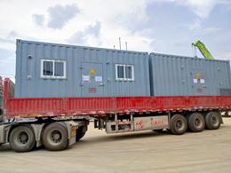 智能集装箱式变电站运往MMG-可移动粉磨站工程